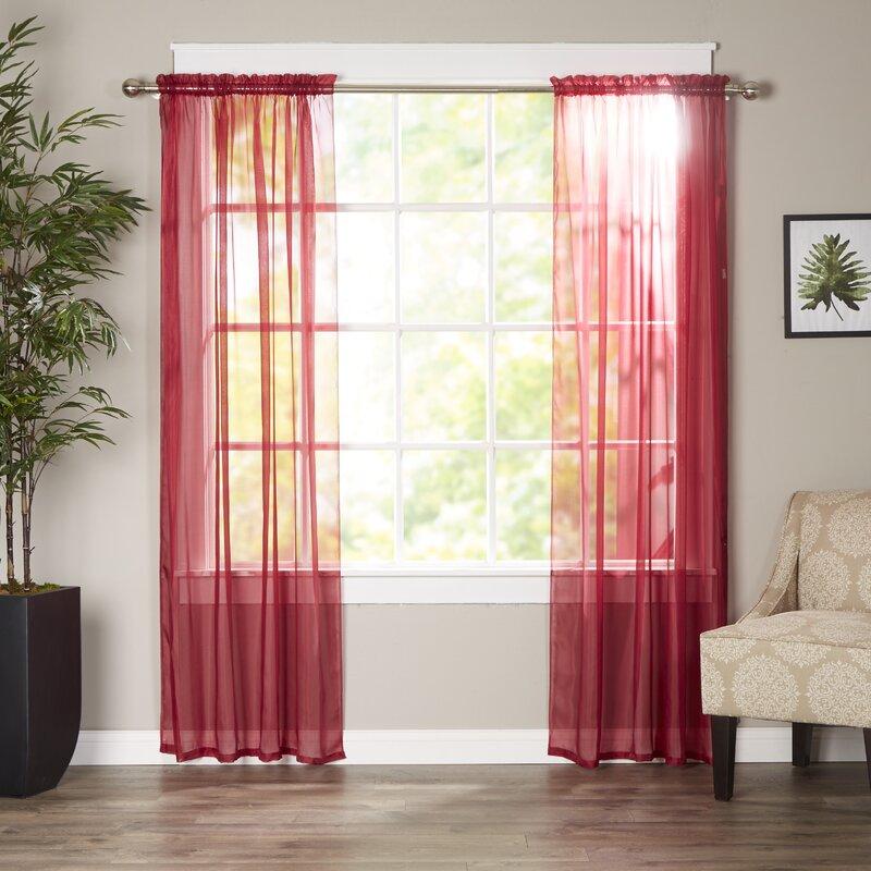 Red And Gray Kitchen Curtains: Wayfair Basics Wayfair Basics Solid Sheer Curtain Panels & Reviews