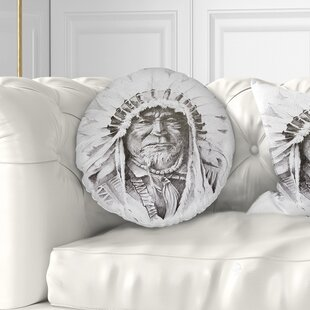 Portrait Native American Indian Throw Pillow