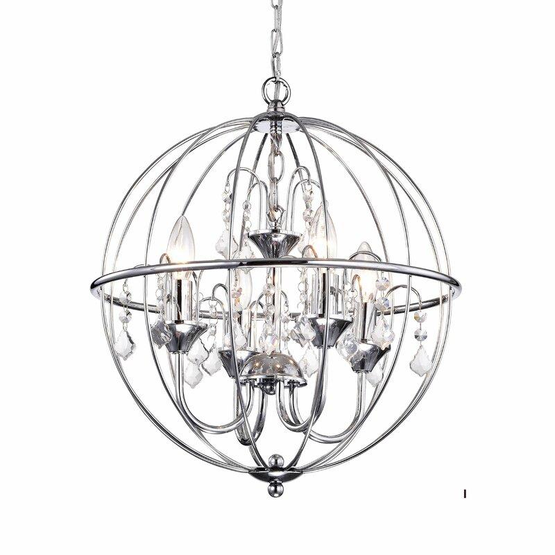 Mercer41 Draco Metal Orb Crystal 4 Light Led Globe Chandelier