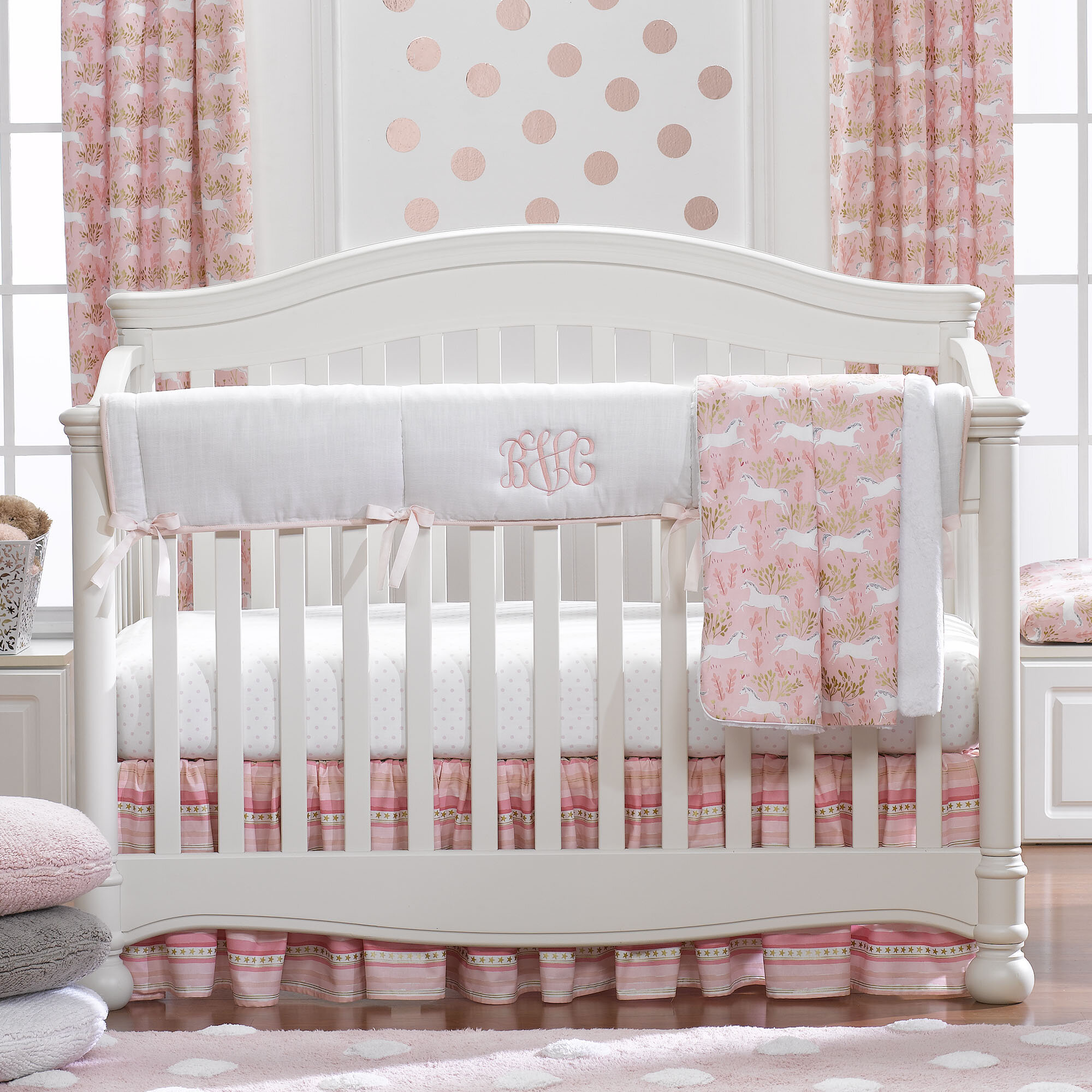 girl baby mint and bedding products nursery gold img pink crib floral goldbaby bed turquoise