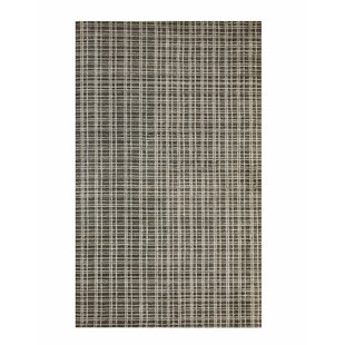 Best Reviews Southwell Hand-Knotted Bamboo Slat/Seagrass Black/White Area Rug By Williston Forge