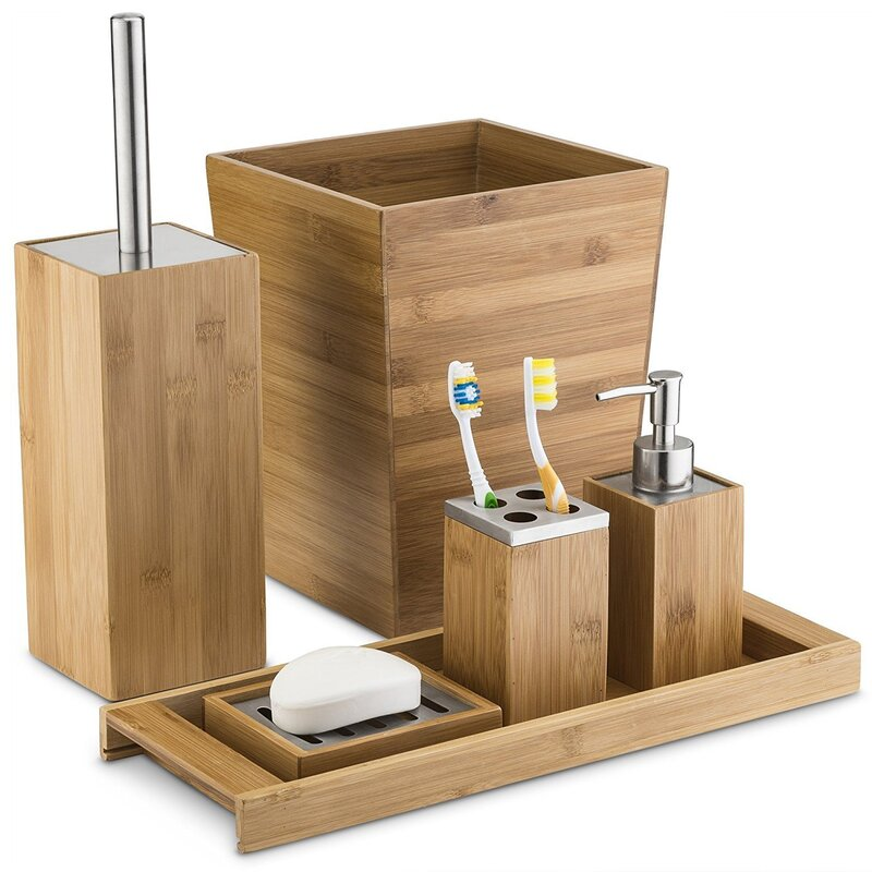 Munroe Bamboo 6 Piece Bathroom Accessory Set