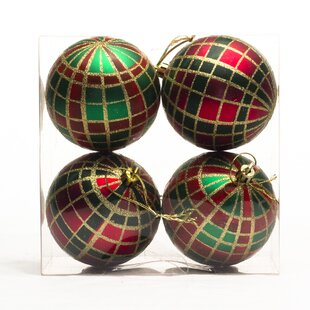 polypropylene plaid ornament set of 4 - Plaid Christmas Ornaments