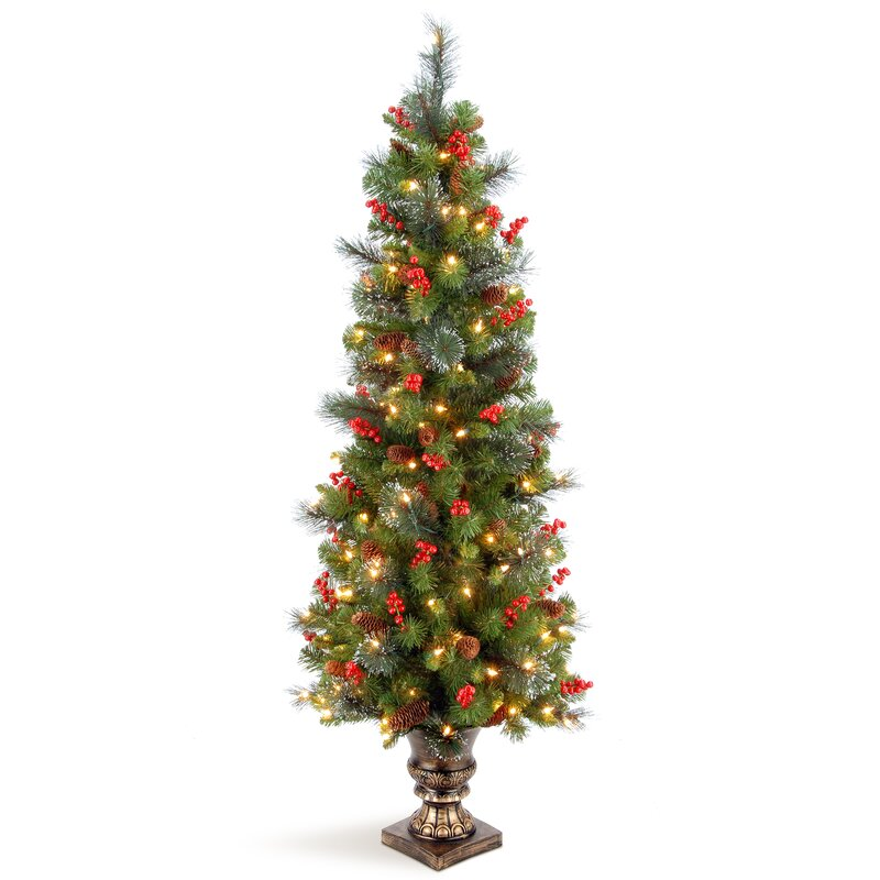 45' Faux Christmas Tree With White Lights Berries In Urn
