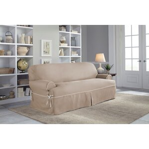Twill T-Cushion Sofa Slipcover by Serta