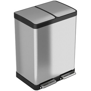 Stainless Steel 16 Gallon Step On Multi Compartments Trash And Recycling Bin
