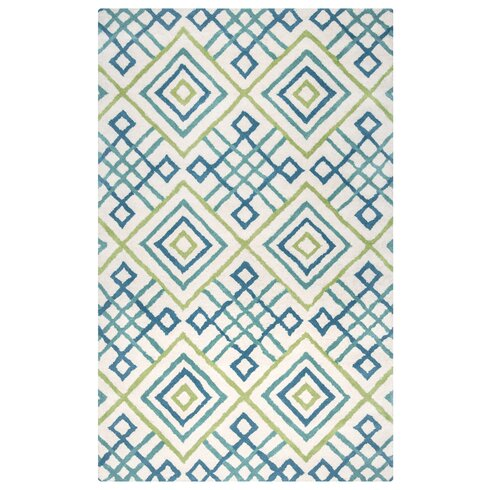 Ohio Hand Tufted Teal Lime Area Rug