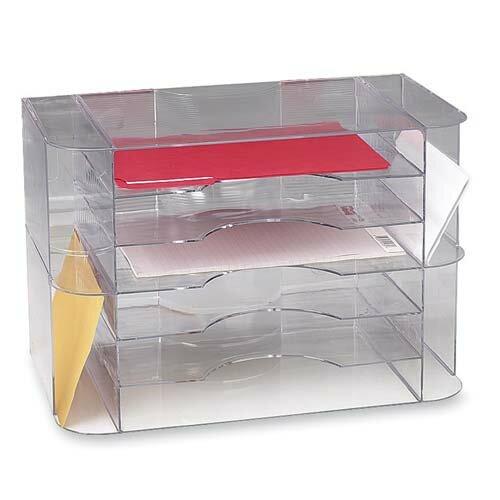 Sparco 6 Divider Jumbo Desk Sorter Clear