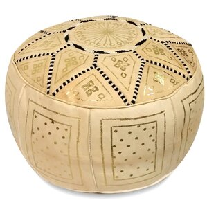Carnuel Moroccan Pouf Leather Ottoman by World Menagerie
