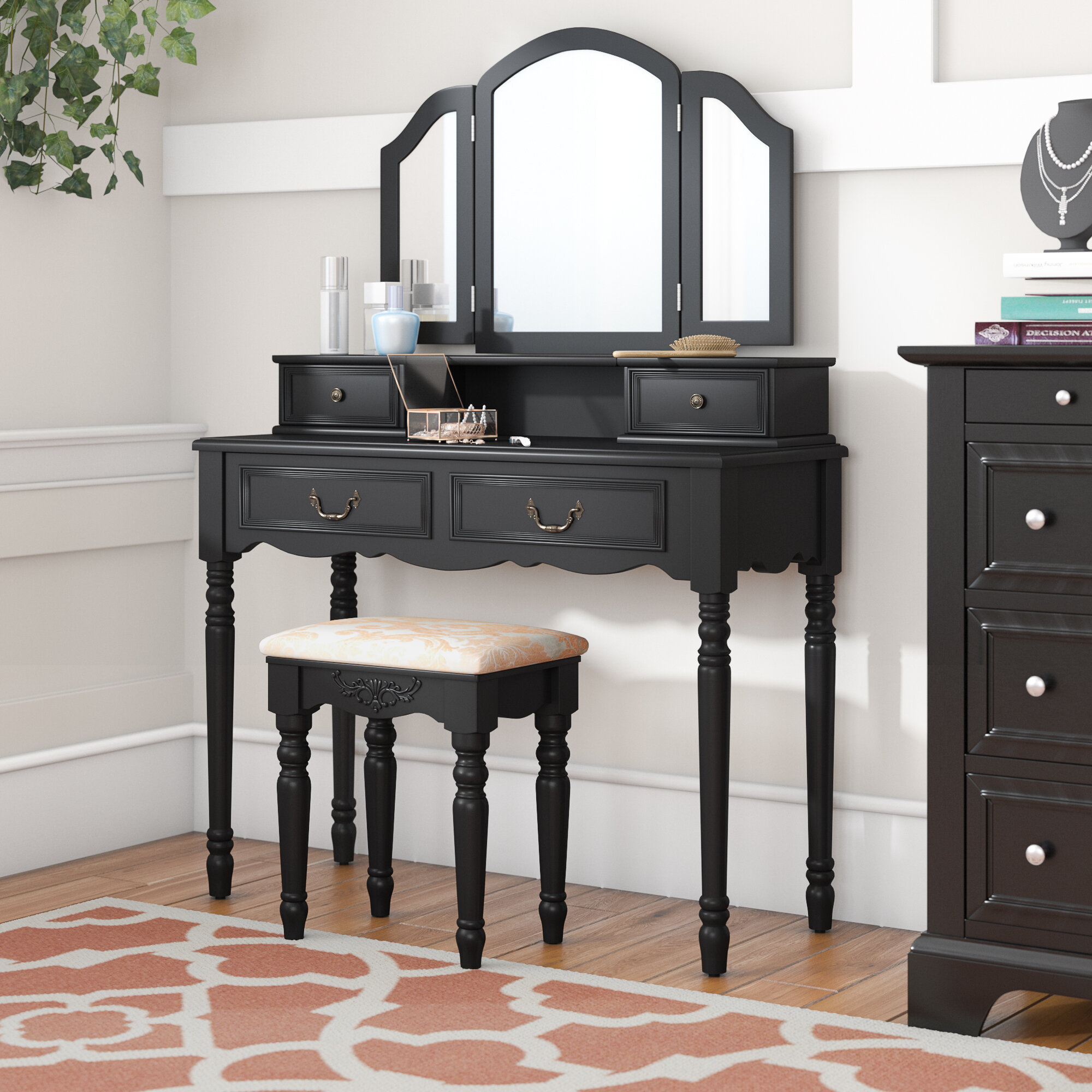 Darby Home Co Felda Elegant Dressing Vanity Set With Mirror Reviews Wayfair