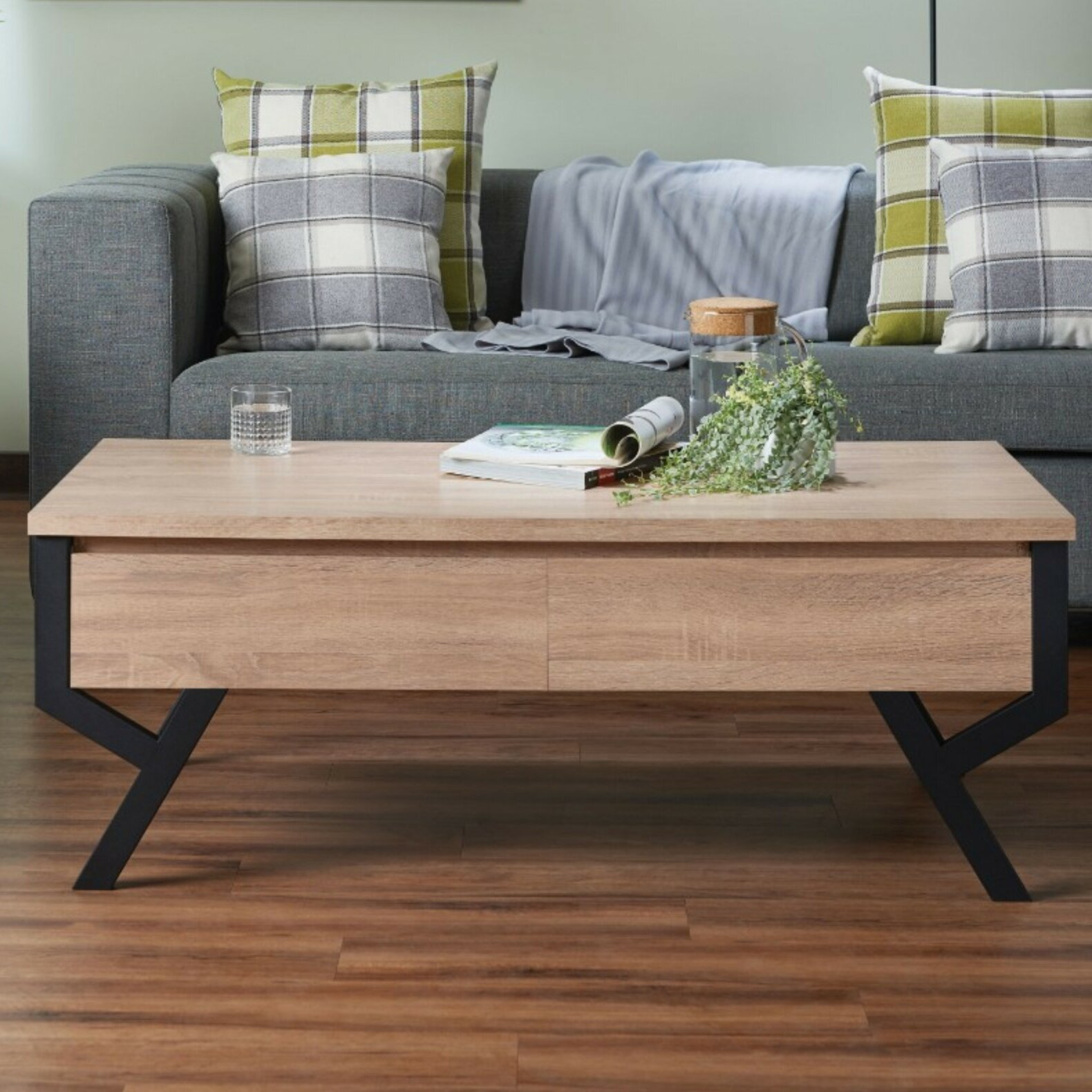 Union Rustic Dominika Transitional Rectangular Wooden Coffee Table With Storage Wayfair