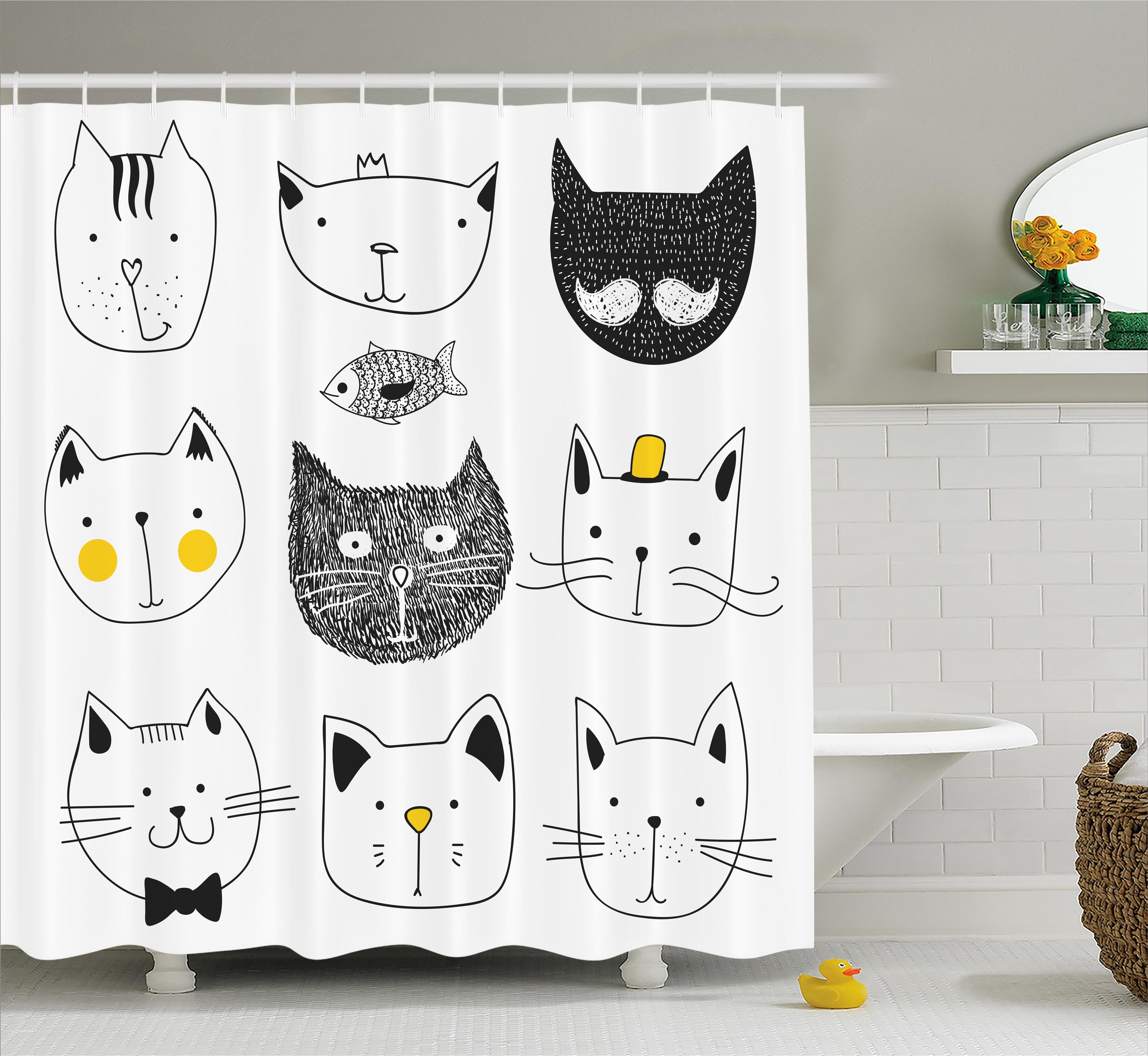 Everly Stylish Cats With Fish Shower Curtain Hooks