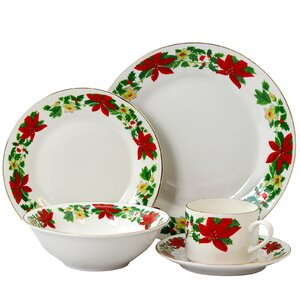 Ryder Poinsettia Holiday 20 Piece Dinnerware Set, Service for 4
