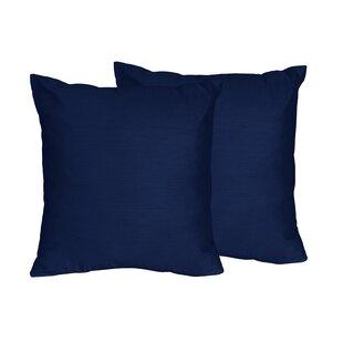 Chevron Solid Navy Blue Throw Pillows Set Of 2