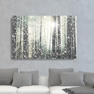 nature wall art framed magical forest silver graphic art print on canvas landscape nature wall joss main