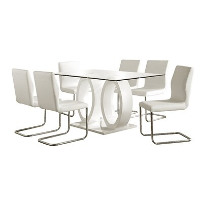 Orren Ellis Berwick 7 Piece Dining Set Finish: White