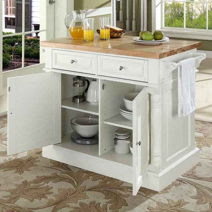 Darby Home Co Lewistown Kitchen Island with Butcher Block Top & Reviews Wayfair
