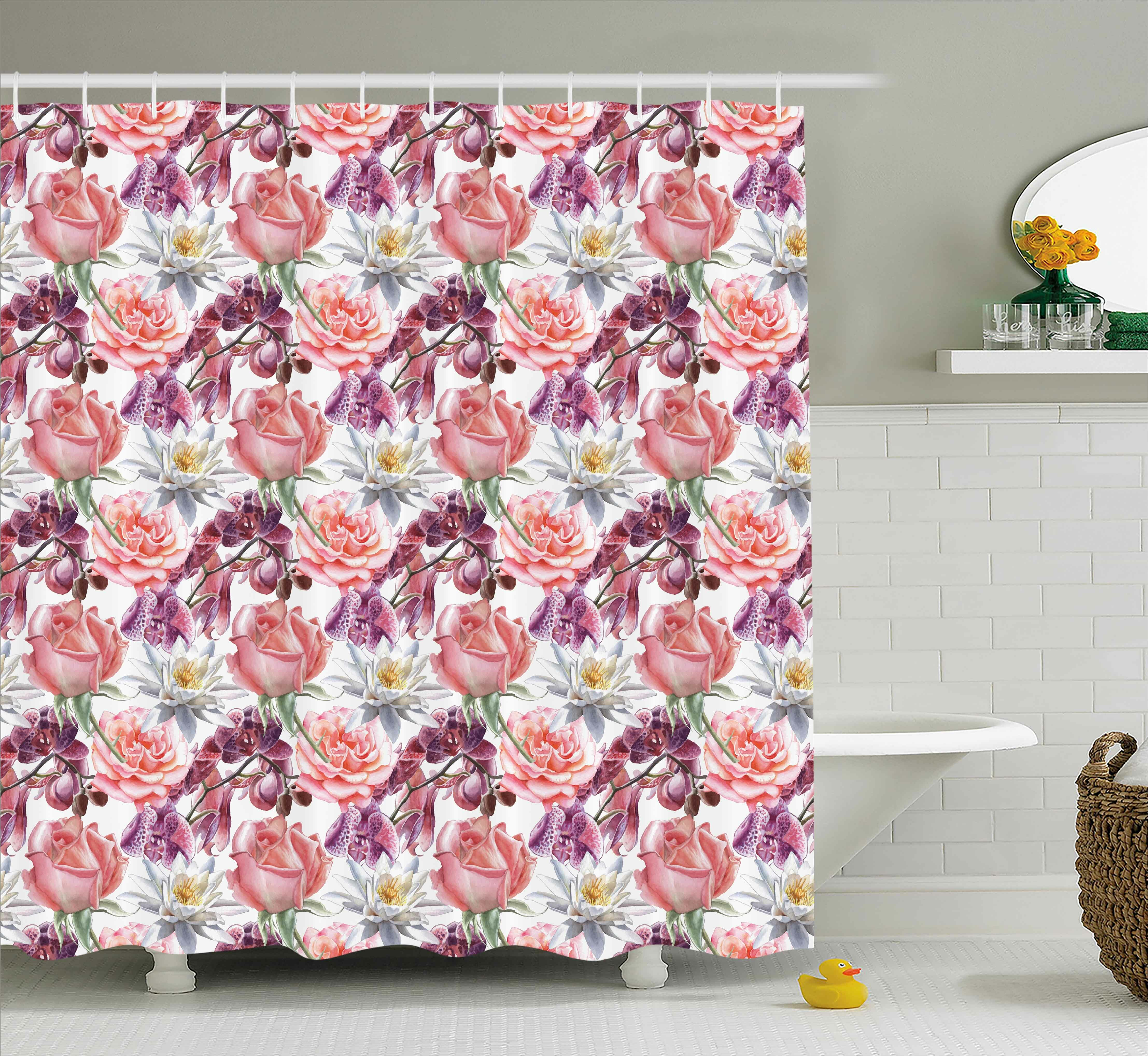 Rosdorf Park Anjali Rose And Lily Flowers Shower Curtain