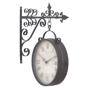 wrought iron double sided hanging clock