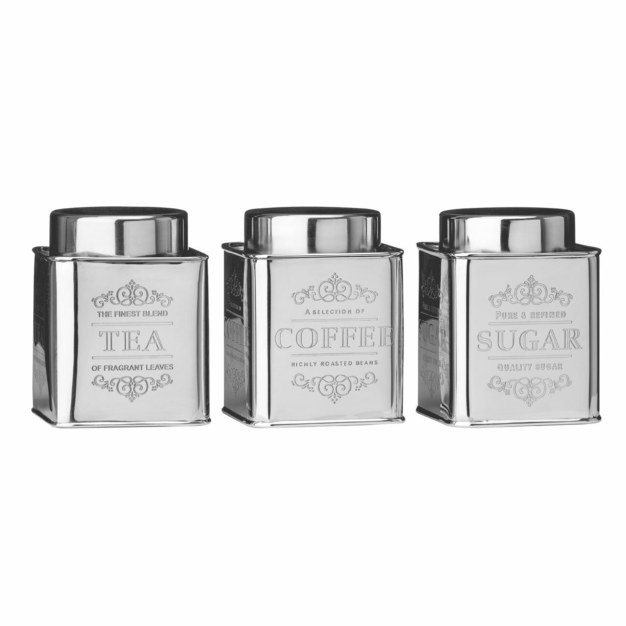 Castleton home chai 3 piece tea coffee sugar stainless steel canister set reviews wayfair co uk