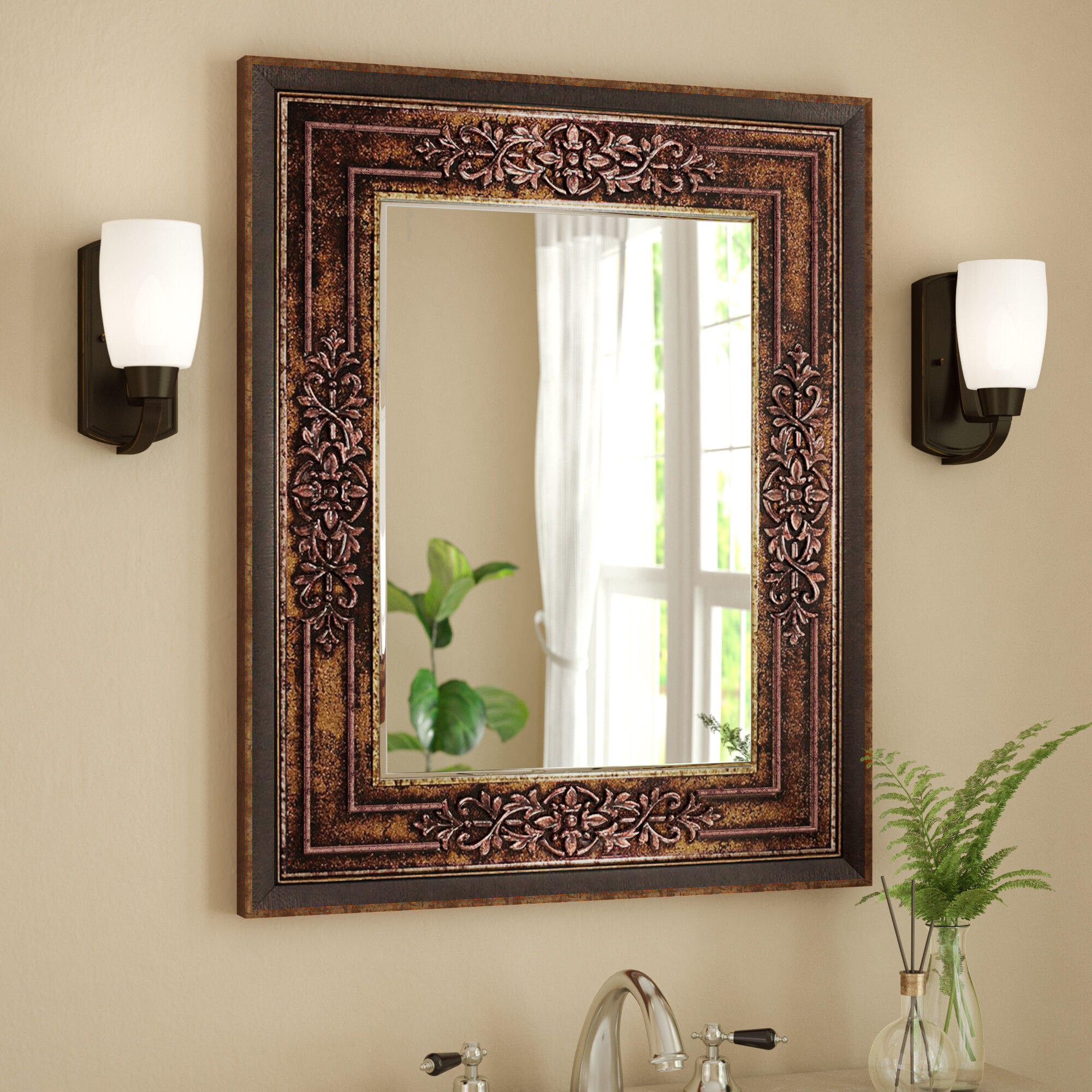astoria grand bronze cherry bathroom vanity mirror reviews wayfair