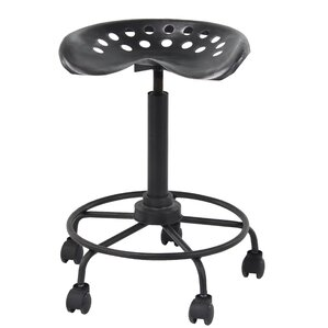 Steelton Modern Iron Adjustable Height Bar Stool with Wheels by Gracie Oaks