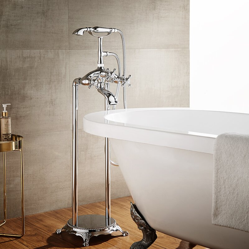 Cassandra Double Handle Floor Mount Clawfoot Tub Faucet Trim With Hand  Shower