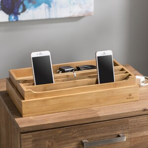 3 Piece Eco-Friendly Bamboo Multi Device Organizer Charging Station and Dock Set