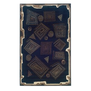 Bulter Black Geometric Area Rug