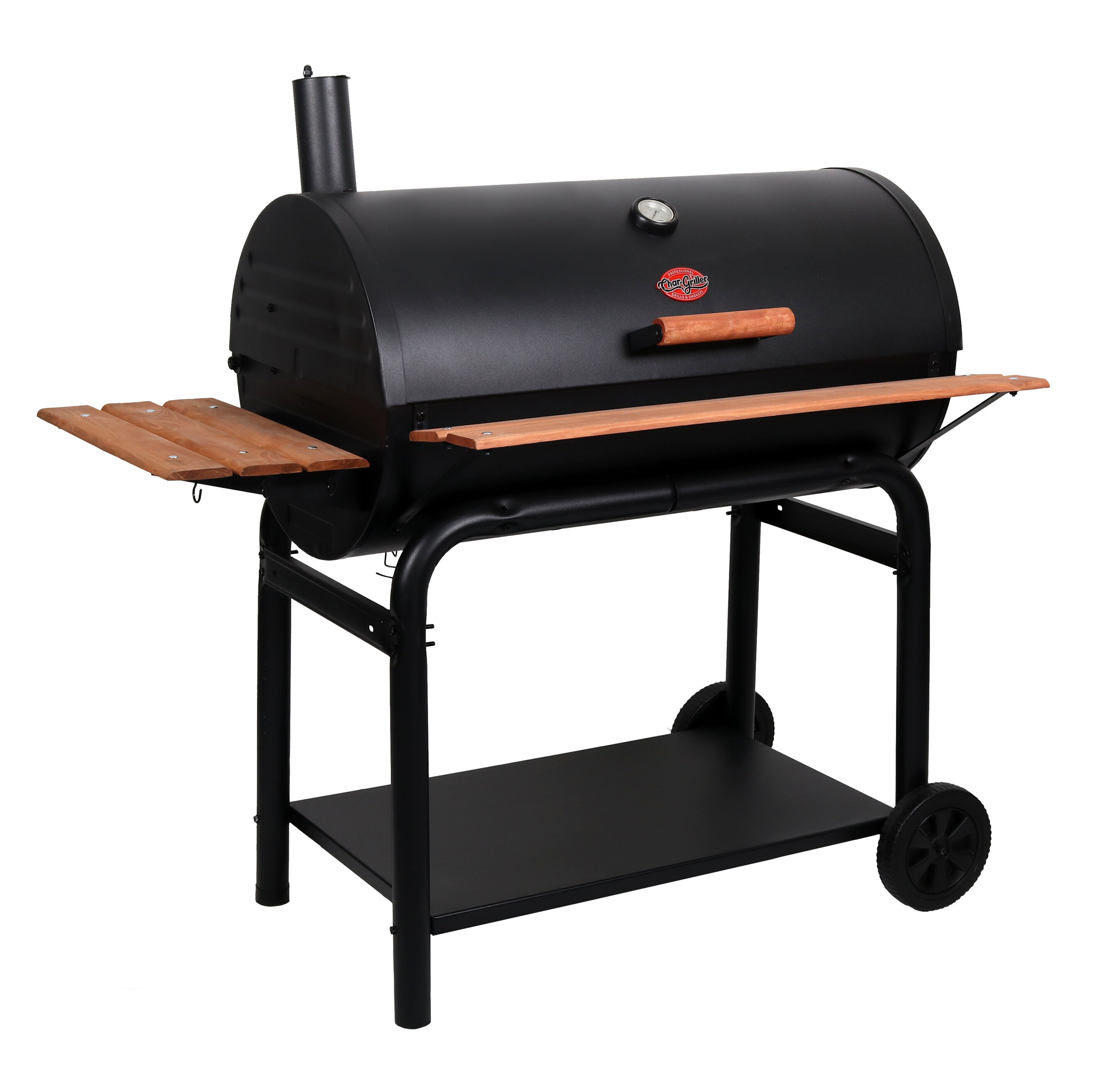 Outlaw Barrel Charcoal Grill With Side Shelves
