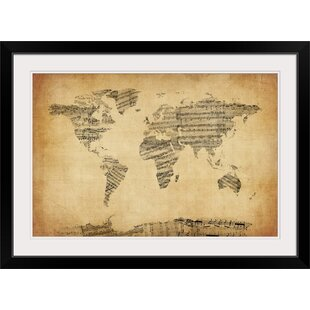 World map crib sheet wayfair map of the world map from old sheet music by michael tompsett graphic art print gumiabroncs Images