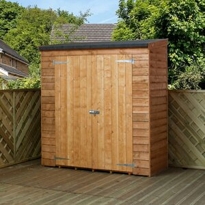 6 ft w x 26 ft d wooden overlap pent storage shed