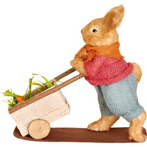 Rabbit Pushing Cart Figurine