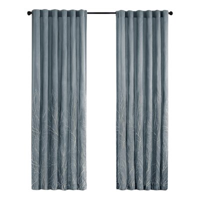 August Grove Gladeview Nature/Floral Room Darkening Rod Pocket Single Curtain Panel Size per Panel: 50 W x 84 L, Color: Blue