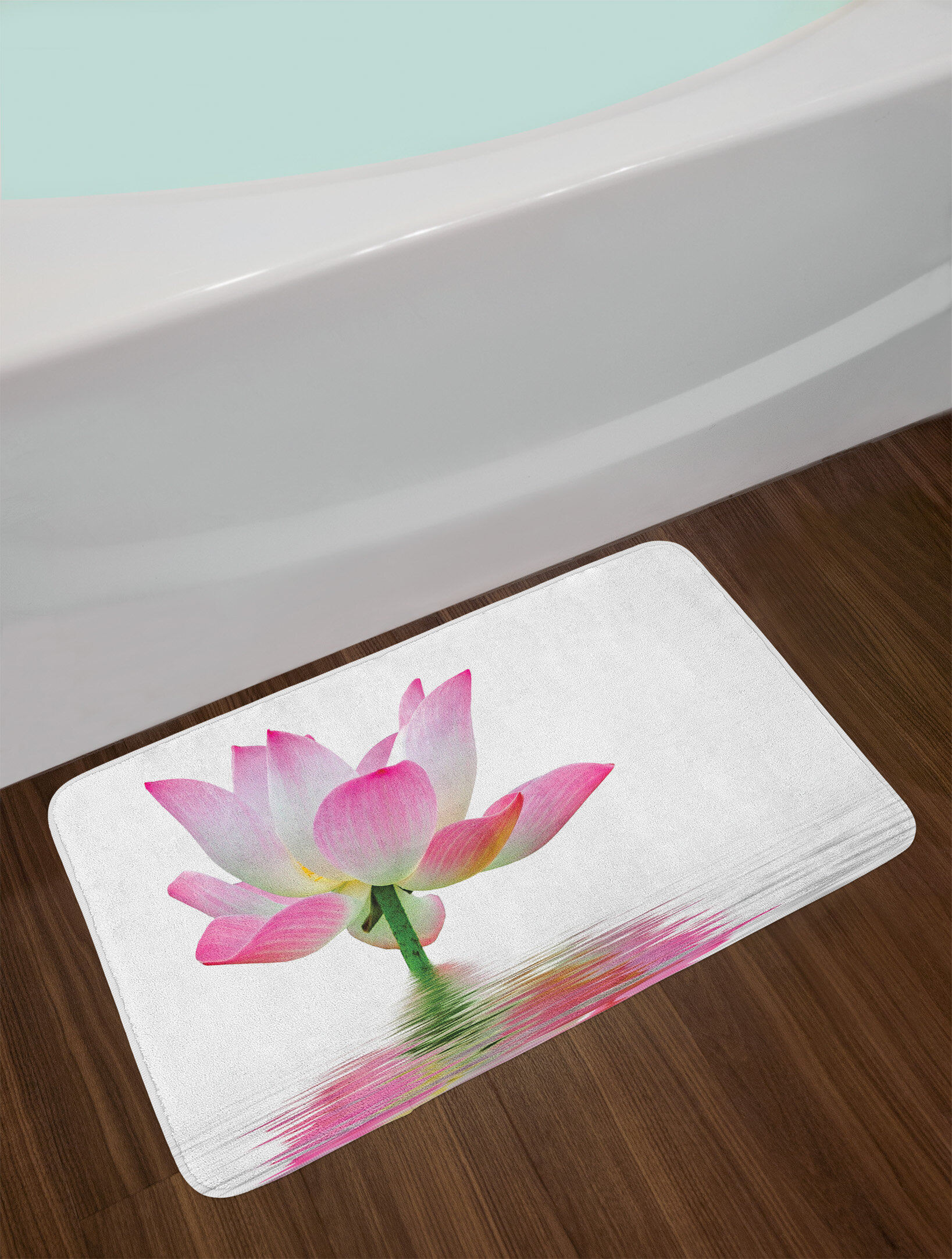 east urban home ambesonne pink and white bath mat by, lotus flower