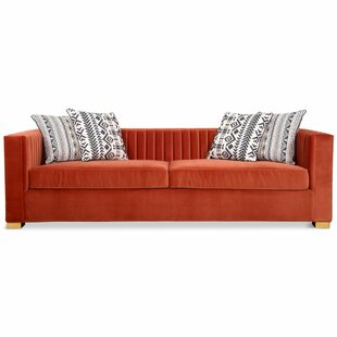 Burnt Orange Velvet Sofa | Wayfair