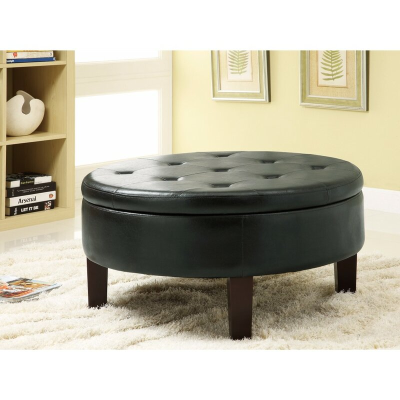 Charmant Damboise Leather Tufted Storage Ottoman
