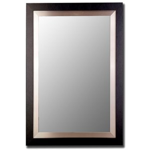 Satin Black and Brushed Nickel Silver Wide Flat Wall Mirror