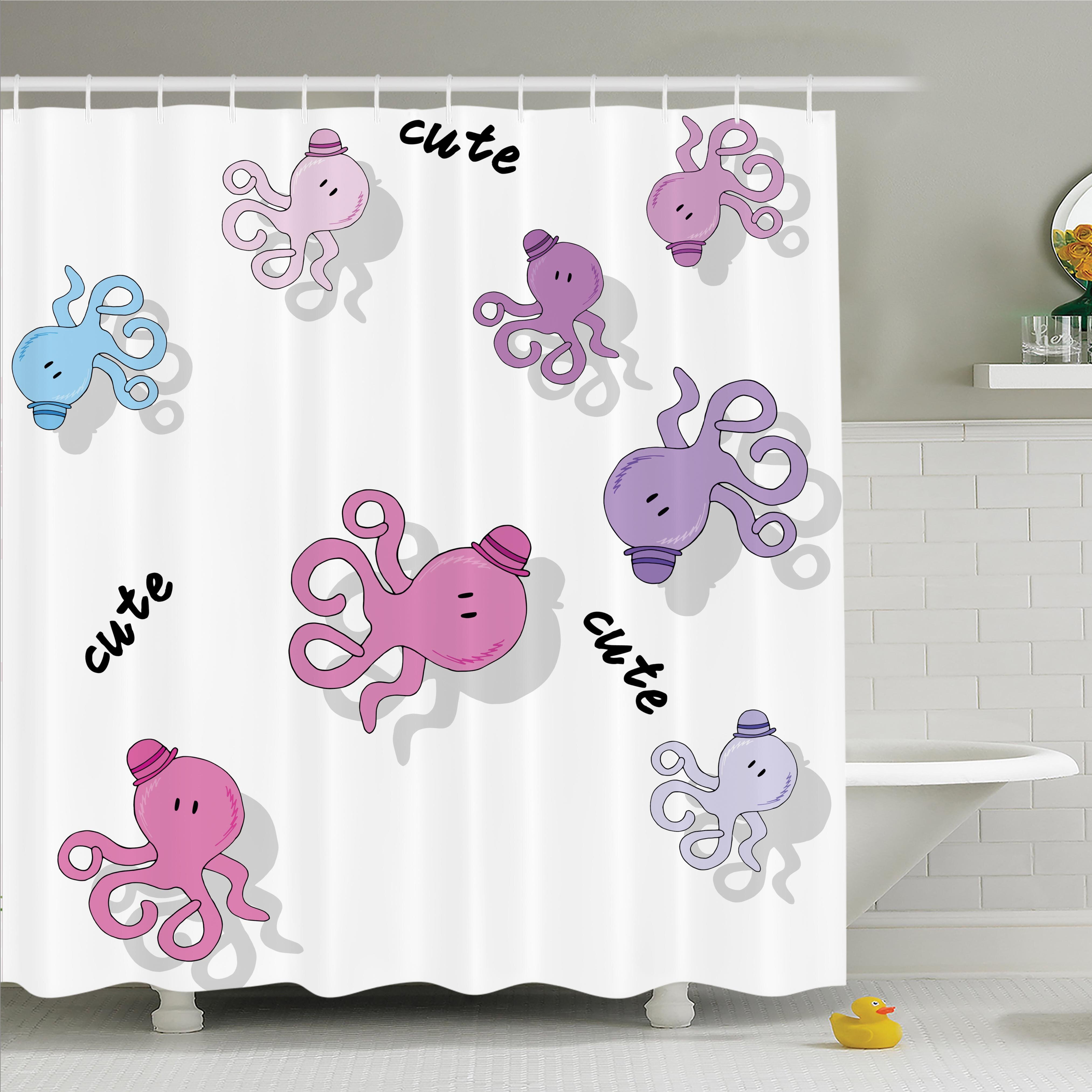 Ambesonne kids cute cartoon octopus art shower curtain set for Kids shower curtain sets