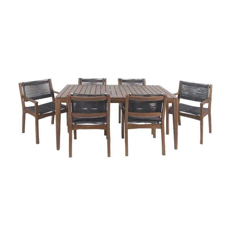 Bungalow Rose North La Junta Rustic Teak 7 Piece Solid Wood Dining Set Wayfair