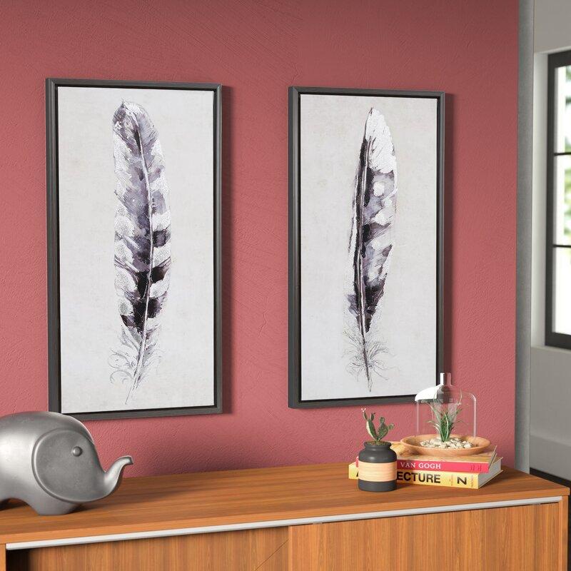 Ordinaire U0027Flight Feathersu0027 2 Piece Framed Graphic Art Print Set On Canvas
