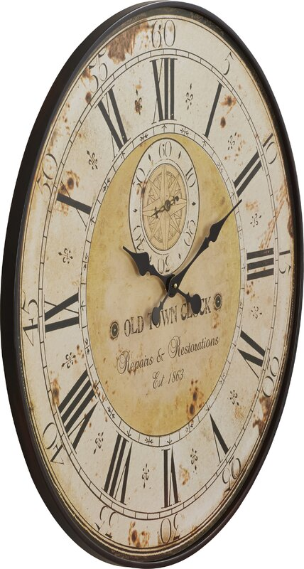Darby Home Co Oversized 31 5 Quot Round Metal Wall Clock