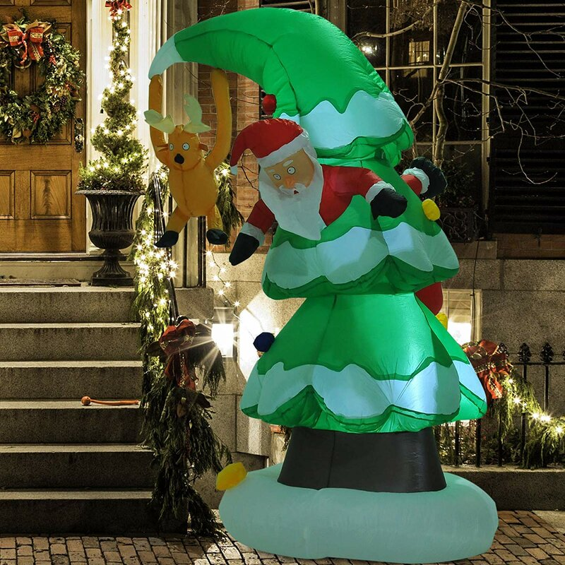 Sol 72 Outdoor Xmas Christmas Tree Stuck Santa Rudolph Reindeer Inflatable | Wayfair.co.uk