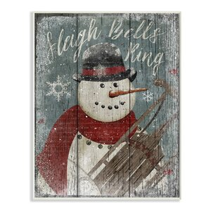 Sleigh Bells Ring Snowman Graphic Art Print