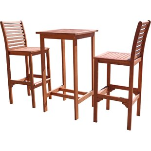 Angelina Dartmoor 3 Piece Bar Height Dining Set
