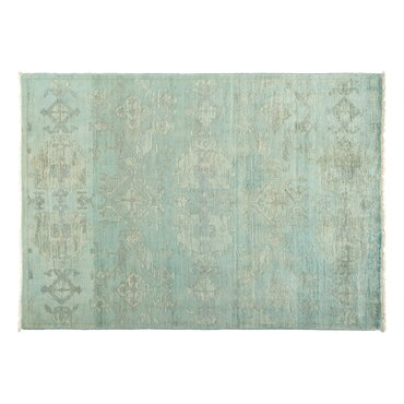 oneofakind vibrance handknotted bluegray area rug
