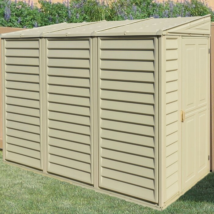 SideMate 4 ft  W x 8 ft  D Plastic Lean-To Storage Shed