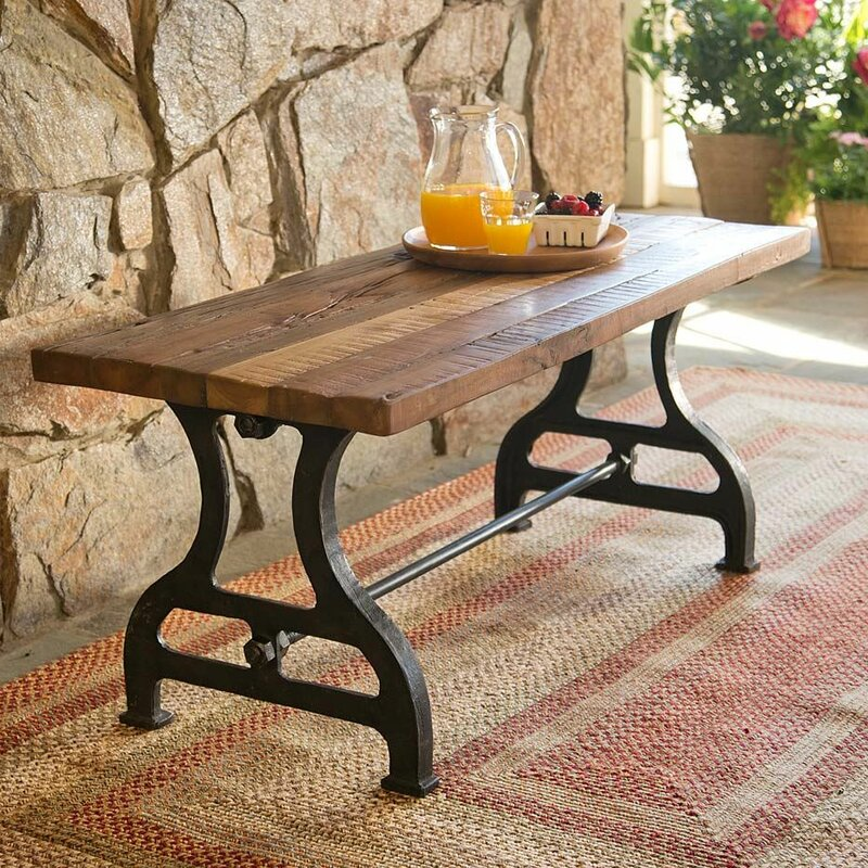Reclaimed Wood Iron Garden Bench. Plow   Hearth Reclaimed Wood Iron Garden Bench   Reviews   Wayfair