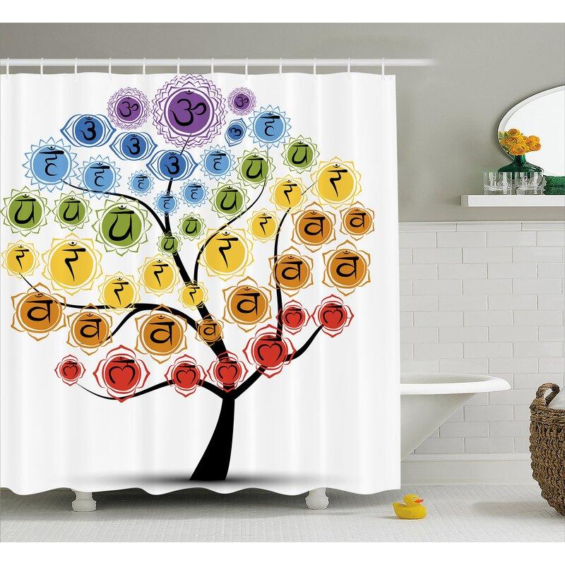 Jordan Yoga Tree With Branch Of Chakra Icon Harmony Shower Curtain
