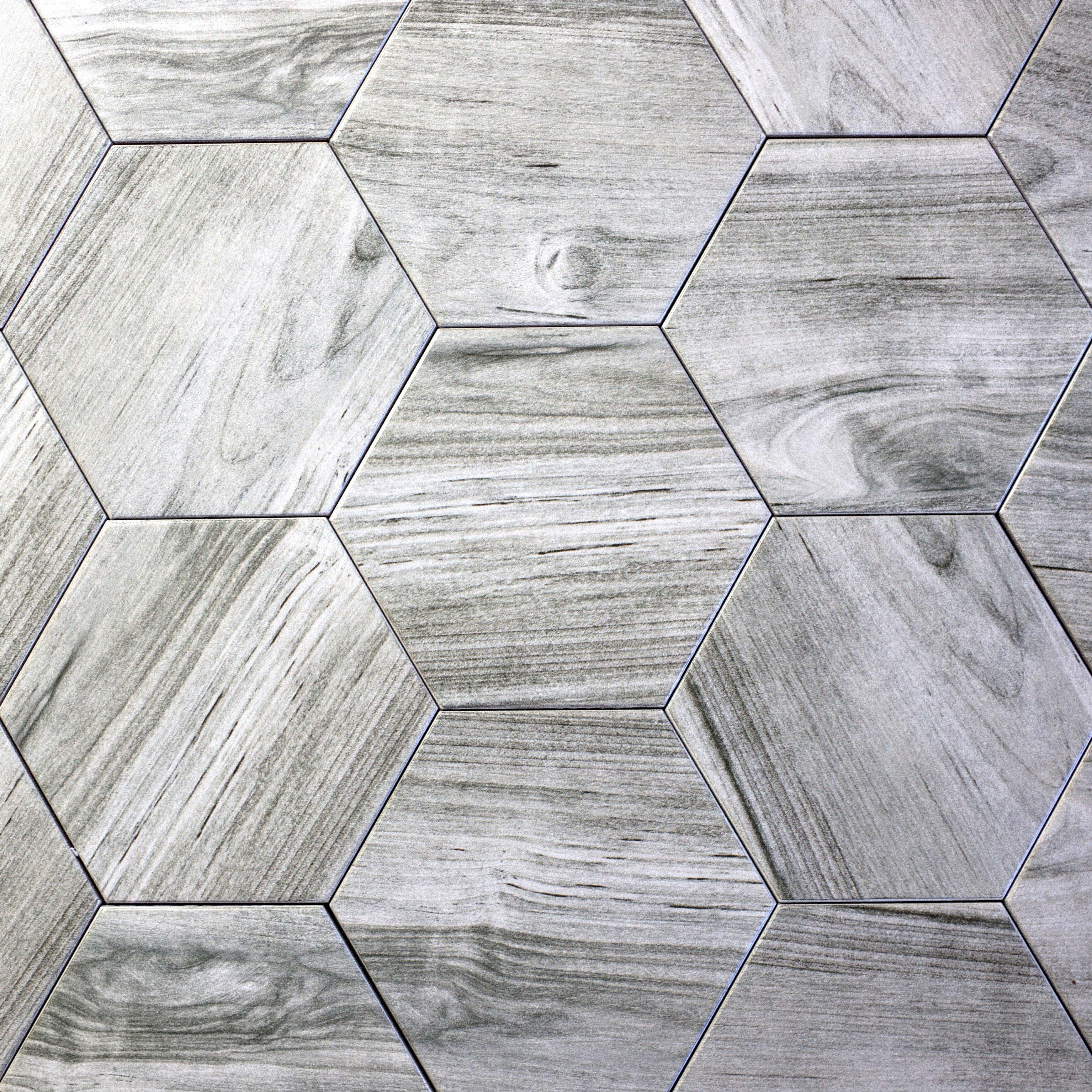 Abolos Artisan Wood Hexagon 8 X 8 Ceramic Wood Look Tile In Gray